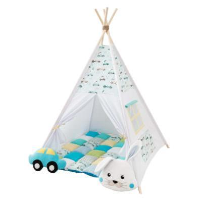 Set Teepee Rabbit Race Mint + 2 pufoșenii