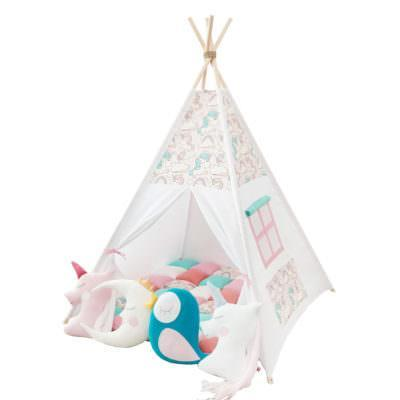 Set teepee Pink Unicorns + 4 pufoșenii