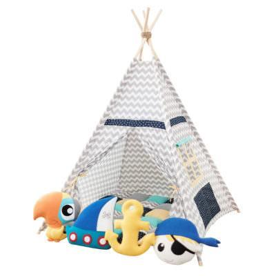 Set teepee Chevron Pirates + 4 pufoșenii