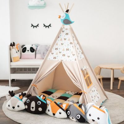 Set teepee Indian Animals + 6 pufoșenii
