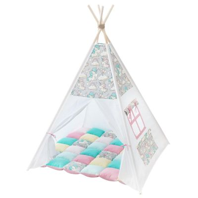 Cort teepee + saltea Unicorns (gray)
