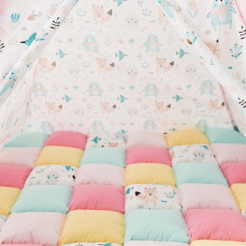 Teepee & Play Mat - Forest Friends (pink)